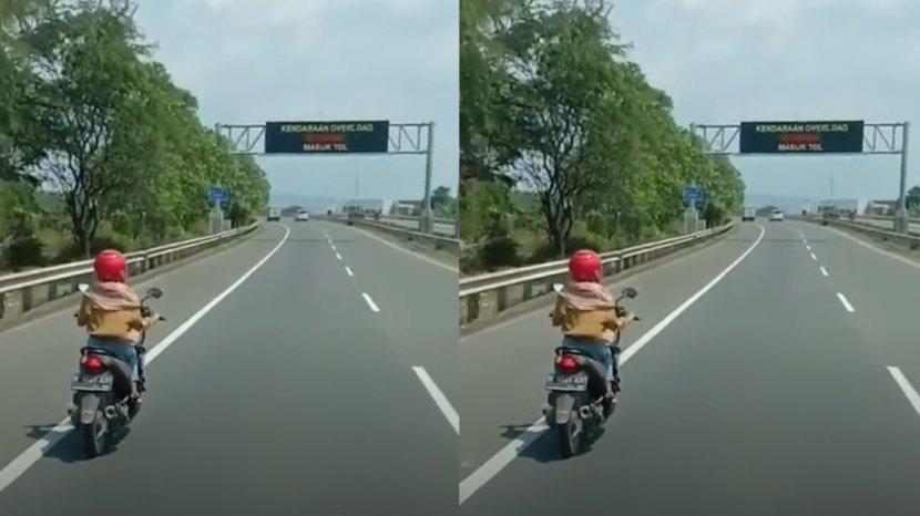 tangkapan layar pemotor masuk tol semarang